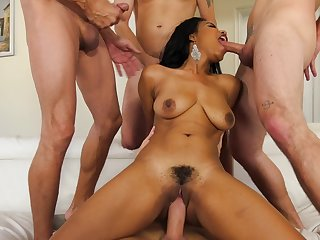Black girl has four on the go phalluses in her possession